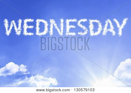 Wednesday cloud word with a blue sky