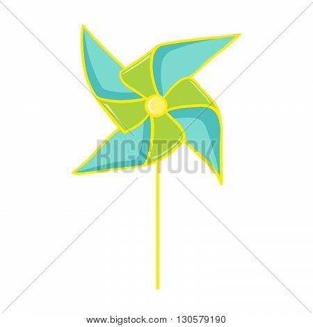 Pinwheel. Colorful paper pinwheel isolated on white. Vector illustration of a toy windmill. Perfect for invitations, save the dates, and thank you cards.