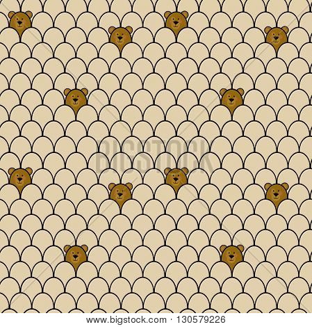 Bears seamless cartoon pattern. Background for kids.