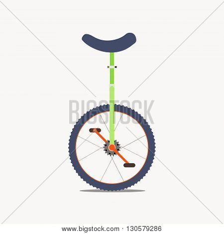 Vector illustration of a unicycle isolated on white background. One wheel bicycle logo. Monocycle icon. Circus concept. Unicycle vector silhouette icon.