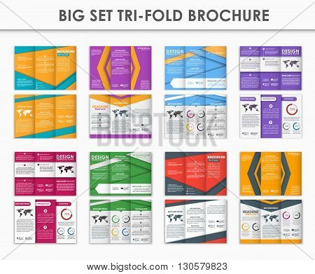 Design triple folding brochure. A set of brochures in the style of the material design. Brochures in different colors for printing advertising and business. Vector illustration. Set