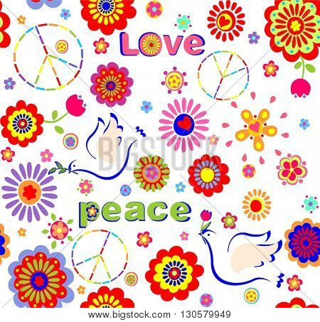 Childish wallpaper with hippie symbolic, colorful abstract flowers and doves