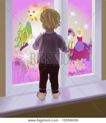 A baby watching fairies through the window