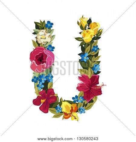 U letter. Flower capital alphabet. Colorful font. Uppercase. Vector illustration. Grotesque style. Floral alphabet.