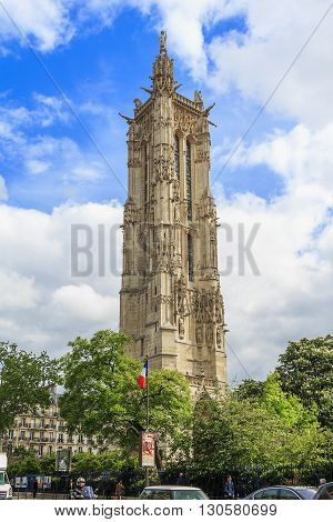 Paris, France - May 13: Saint-Jacques Tower is a free-standing tower in the late Gothic style (or
