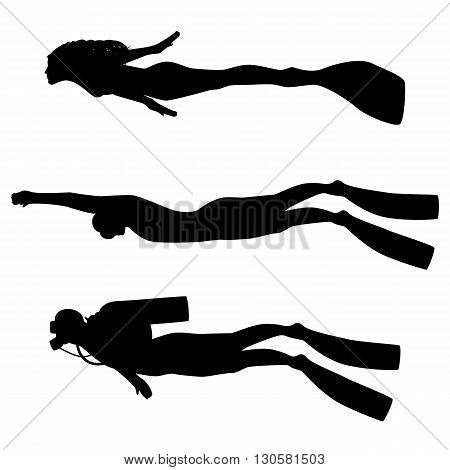 Vector illustration of a isolated silhouette of diver on a white background. Man underwater in a diving suit. Silhouette of freediving.