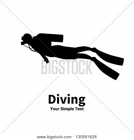 Vector illustration of a isolated silhouette of diver on a white background. Man underwater in a diving suit. A scuba divers with an inscription.