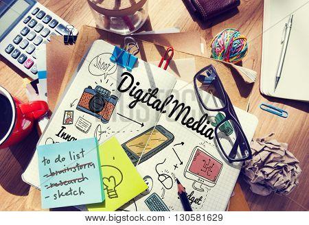 Digital Media Internet Online Sharing Technology Website Concept