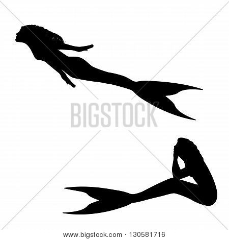 Vector illustration of a mermaid silhouette isolated on white background.