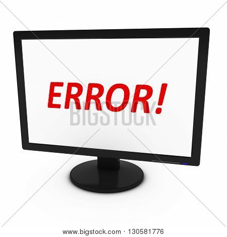 Red ERROR! Text on Computer Screen - Isolated on White - 3D Illustration