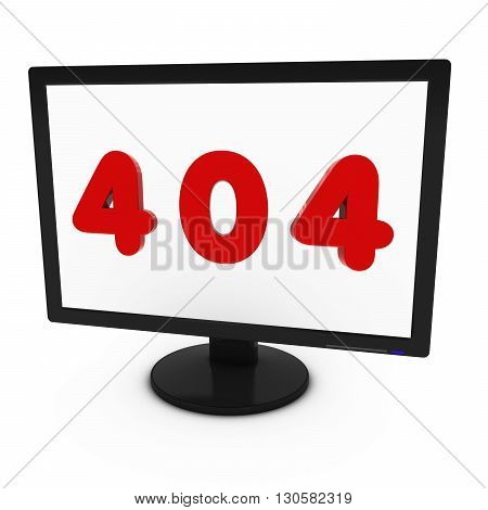 Red 404 Image on Computer Screen - Isolated on White - 3D Illustration