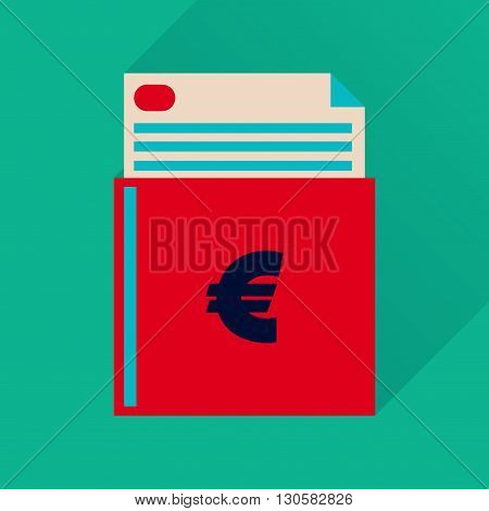 Flat icon with long  shadow chec kbook