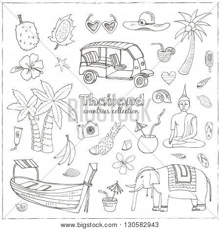 Hand drawn doodle Thailand travel set.  Sketchy Icons set. Travel Collection. Isolated vector illustration.