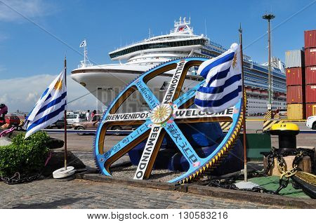 MONTEVIDEO, URUGUAY - JANUARY 7, 2015:  Golden Princess cruise ship moored at Montevideo port. January 7, 2015 Montevideo, Uruguay, South America