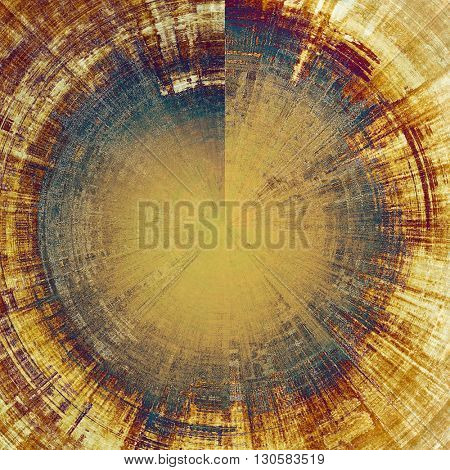 Spherical retro design on grunge background or aged faded texture. With different color patterns: yellow (beige); brown; blue; gray; purple (violet)