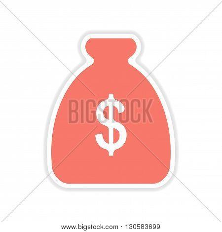 paper sticker on white  background money bag