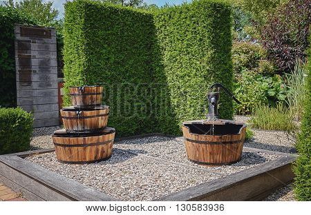Decorative fountains and hedges in the garden