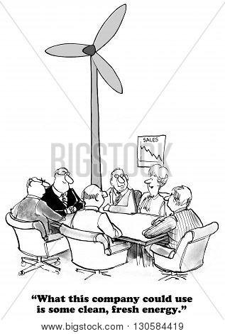 Business cartoon about a business that needs a clean, fresh start.