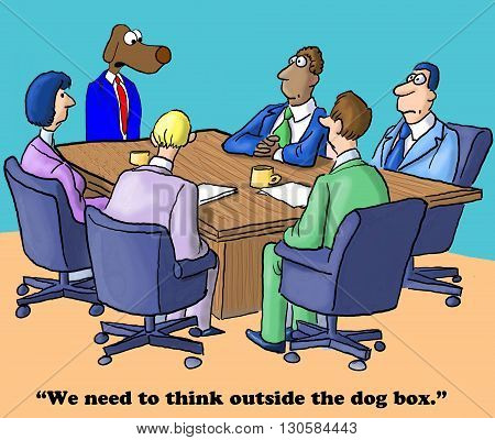 Business cartoon about deciding to think outside the box.