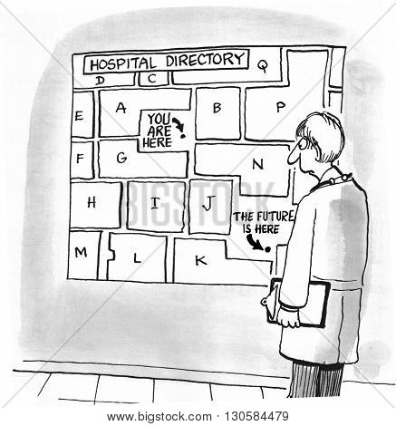 Medical cartoon that shows where the future can be found.
