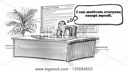 Business cartoon about motivation and cheering everyone on.