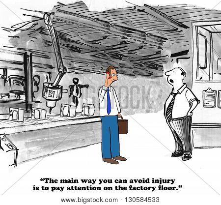 Business cartoon about careless and dangerous behavior on the factory floor.