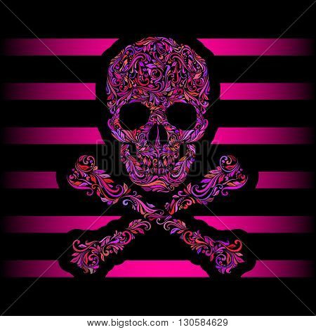 Floral pattern of form color skull and crossbones. Pink stripes. Emo