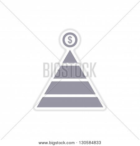 paper sticker on white  background financial pyramid