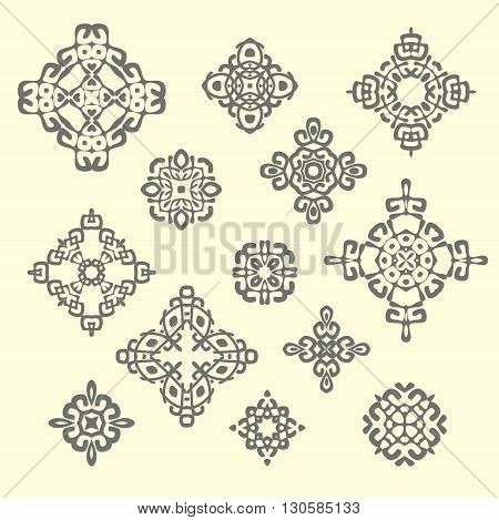 Set of different ethnic signs and design elements. Geometric patterns on beige background. Vector illustration. Could be used for tattoo, logo and icon design , web-design, decoration, etc.
