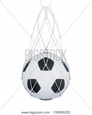 Soccer ball in the mesh bag isolated on white background. 3d render image.