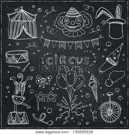 Hand drawn sketch circus icons. Vector illustration of circus for design and packages product.