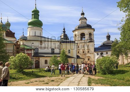 Kirillov, Russia - May 28: This is a group of tourists at the main church buildings Kirillo-Belozersky Monastery May 28, 2013 in Kirillov, Russia.