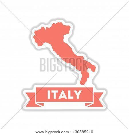 paper sticker on white  background Italy map