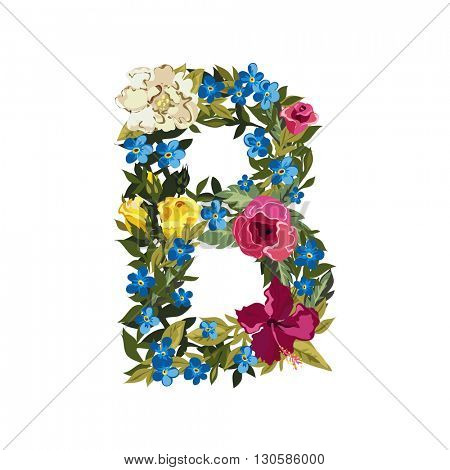 B letter. Flower capital alphabet. Colorful font. Uppercase. Vector illustration. Grotesque style. Floral alphabet.
