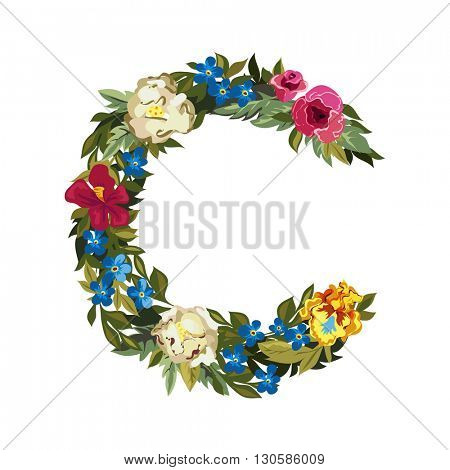 C letter. Flower capital alphabet. Colorful font. Uppercase. Vector illustration. Grotesque style. Floral alphabet.