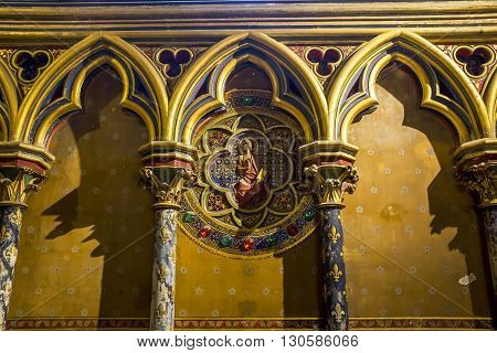 Paris, France - May 13: This is fragment preserved interior decoration of the royal chapel of the XIII century Saint Chapelle on island Cite May 13, 2013 in Paris, France.