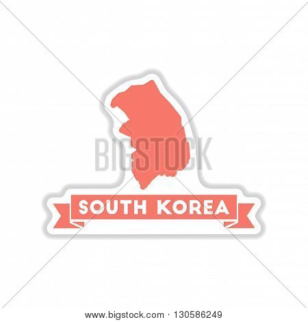paper sticker on white  background South Korea Map