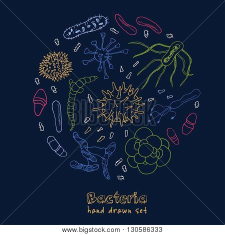 Bacteria virus icons set. Sketches. Hand-drawing. Vector illustration of for design and packages product.
