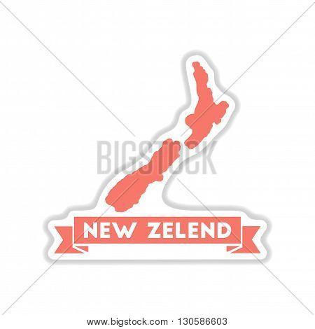 paper sticker on white  background New Zealand map