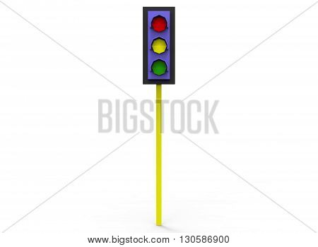 3d illustration of simple traffic light. low poly style. icon for game or web. simple to use. on white background isolated with shadow.