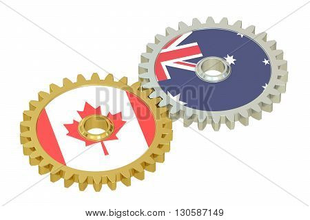 Canadian and Australian flags on a gears 3D rendering isolated on white background