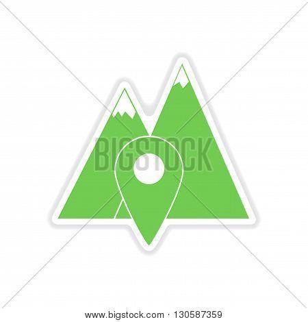paper sticker on white  background mountain location