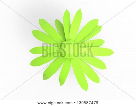 simple 3d illustration of flower. different lenght. colored/ icon for game or web site. on white background isolated. green eco nature