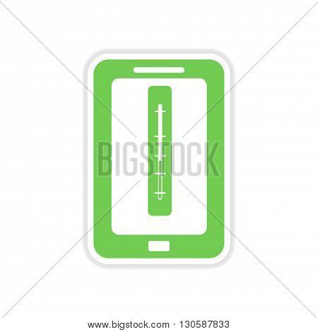 paper sticker on white  background mobile phone temperature