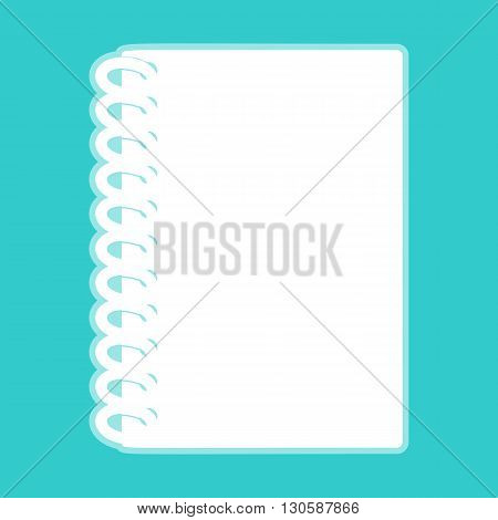 Notebook simple icon. White icon with whitish background on torquoise flat color.