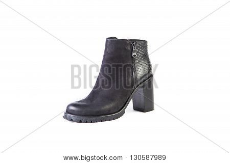 Suede Women's Boots On A White Background, Black Shoes, Autumn And Winter