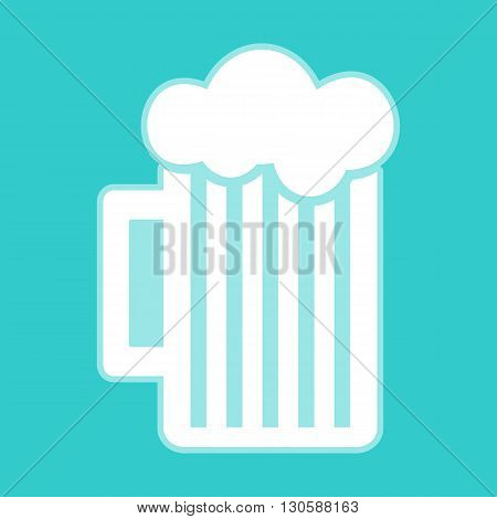 Glass of beer icon. White icon with whitish background on torquoise flat color.