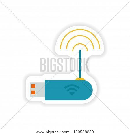 paper sticker on white background   Wi-Fi router