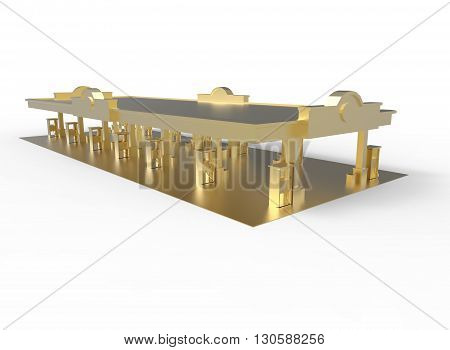 3d illustration of gas station. simple to use. on white background isolated with shadow. icon for game or web. eco building. expensive purchase. green colors.