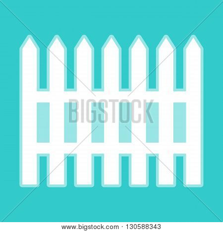 Fence simple icon. White icon with whitish background on torquoise flat color.